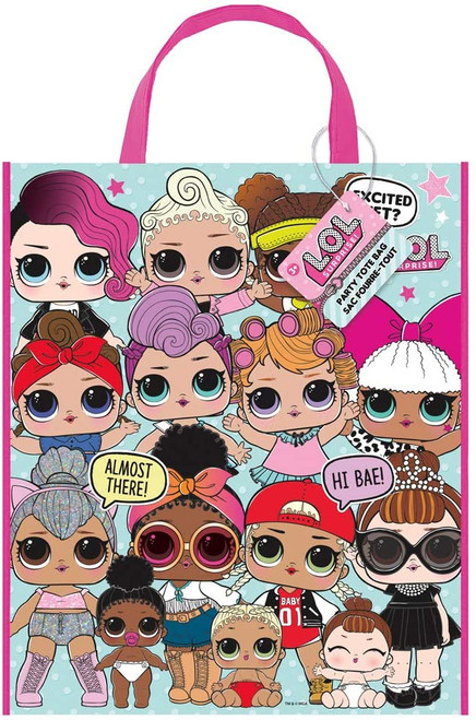"""LOL Surprise Plastic Tote Bag  13"""" x 11"""" Birthday Party Supplies"""