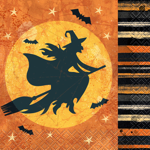 Full Moon Witch Halloween 16 Ct Beverage Napkins