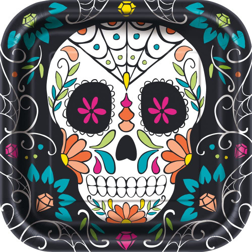 """Skull Day of the Dead 8 Ct 9"""" Square Luncheon Plates Halloween"""