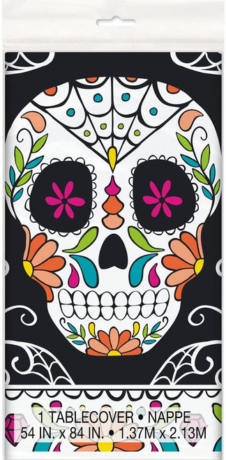 """Skull Day of the Dead Halloween 54"""" x 84"""" Tablecover"""