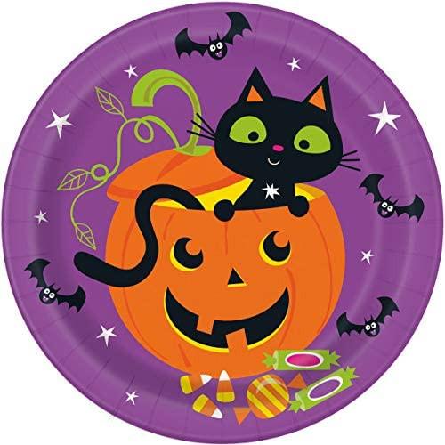 "Cat and Pumpkin Halloween 8 Ct Dinner Luncheon 9"" Plates"