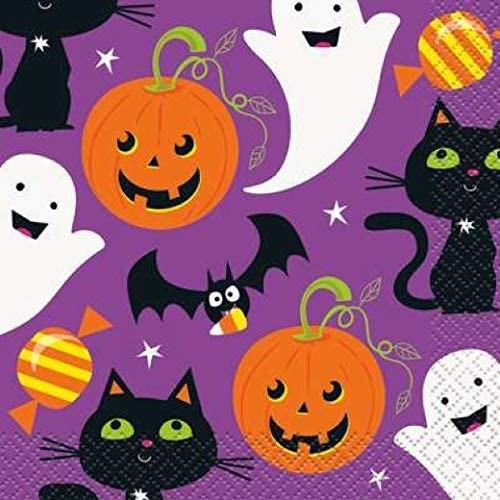 Cat and Pumpkin Halloween 16 Ct Beverage Napkins