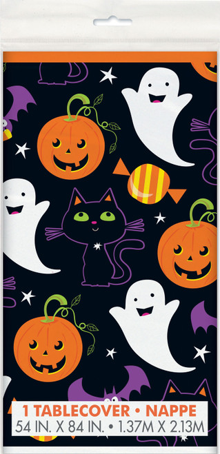 Cat and Pumpkin Halloween Plastic Tablecover 54 x 84