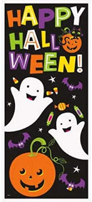 Cat and Pumpkin Plastic Door Poster Decoration 27 x 60 in Halloween