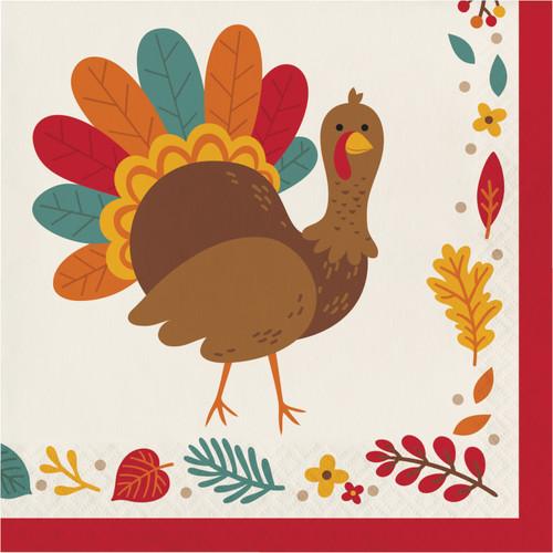 Tom Turkey Thanksgiving 16 Ct 2 Ply Luncheon Napkins