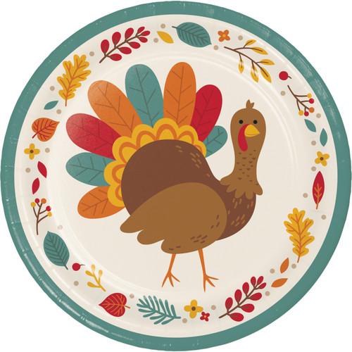 "Tom Turkey Thanksgiving 8 Ct 8.75"" Paper Luncheon Dinner Plates"