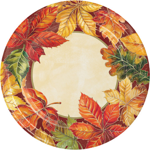 "Vibrant Leaves 8 Ct 9"" Dinner Plates Thanksgiving Fall"