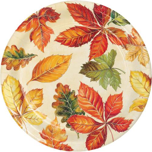 "Vibrant Leaves 8 Ct 7"" Dessert Cake Plates Thanksgiving Fall"