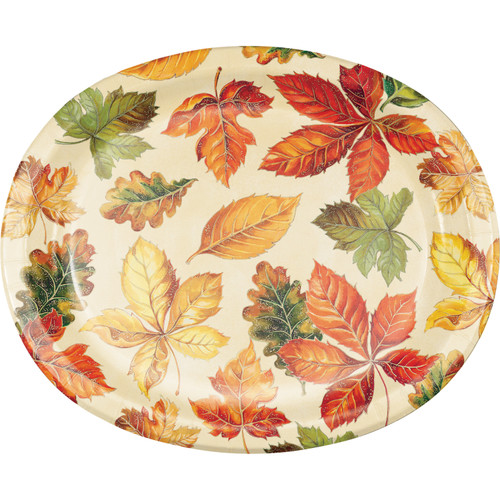 Vibrant Leaves 8 Ct 10 x 12 Oval Banquet Platter Plates Thanksgiving Fall
