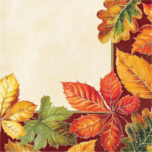 Vibrant Leaves 16 Ct Luncheon Napkins Thanksgiving Fall