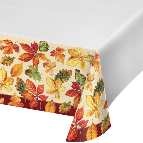 Vibrant Leaves Paper 54 x 102 Tablecover Thanksgiving Fall