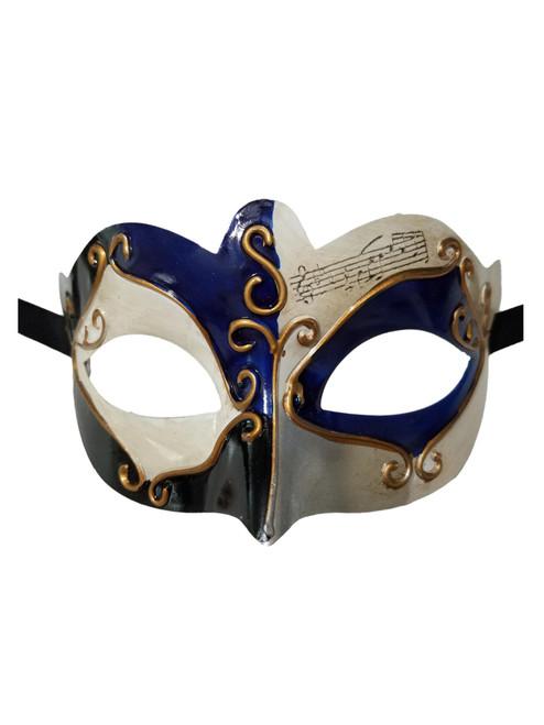 Blue Black Gold Small Venetian Masquerade Mardi Gras Mask