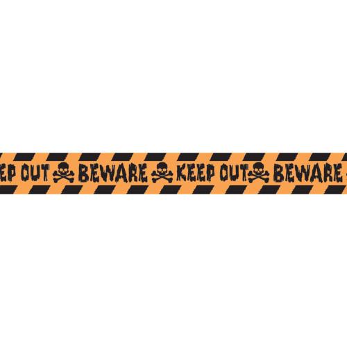 "Halloween Big Value 100' Tape ""Beware, Keep Out!"" Orange Skull Bones"