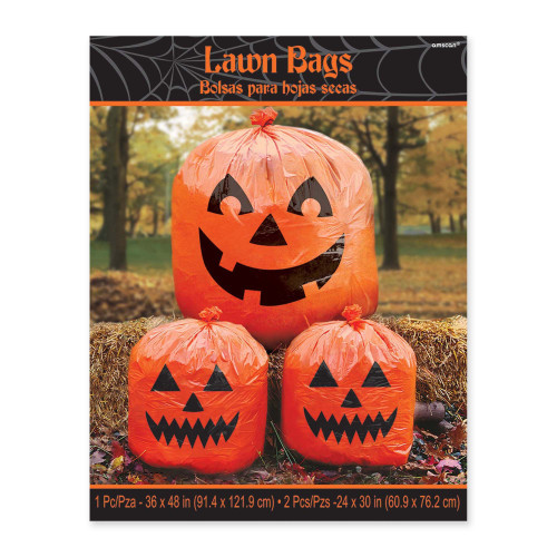 Halloween Pumpkin Jack O'Lantern 3 Lawn Bags Decoration 2 Sizes