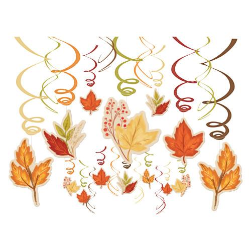 Fall Foliage Leaves 30 Pc Swirl Hanging Decorations Mega Value Pack