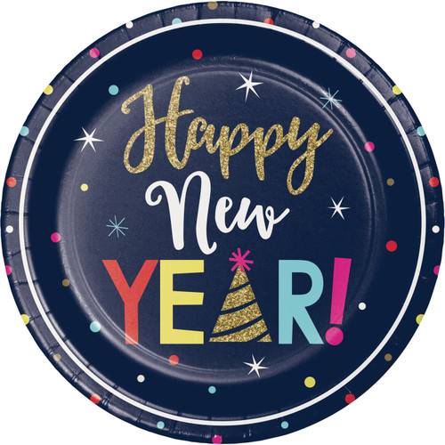"""Happy New Years Eve Countdown 8 Ct 9"""" Dinner Plates"""