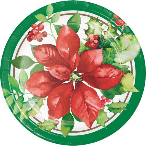 "Perfect Poinsettia Paper 8 Ct 7"" Dessert Cake Plates"