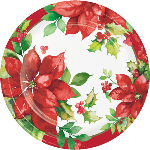 """Perfect Poinsettia Paper 8 Ct 9"""" Dinner Lunch Plates"""