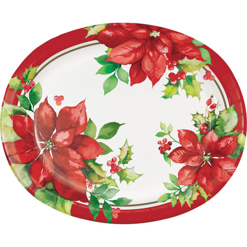 """Perfect Poinsettia Paper 8 Ct 10 x 12"""" Oval Banquet Plates Platters"""