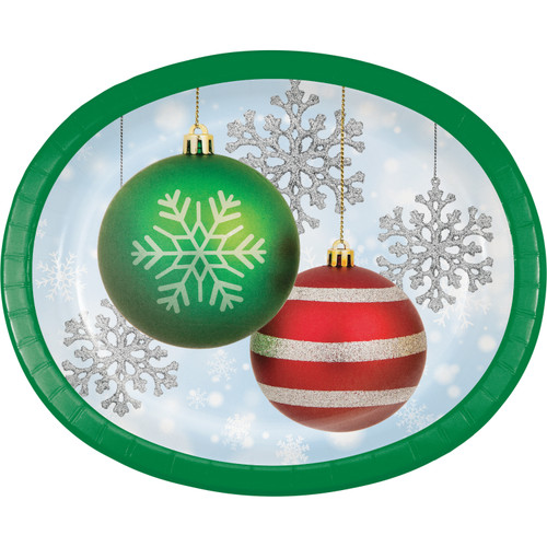 """Sparkling Ornaments Paper 8 Ct 10 x 12"""" Oval Banquet Plates Platters Christmas"""