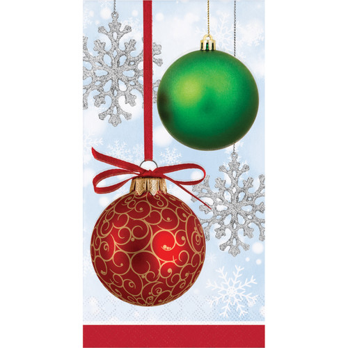 Sparkling Ornaments 16 Ct 3 Ply Guest Napkins Paper Christmas