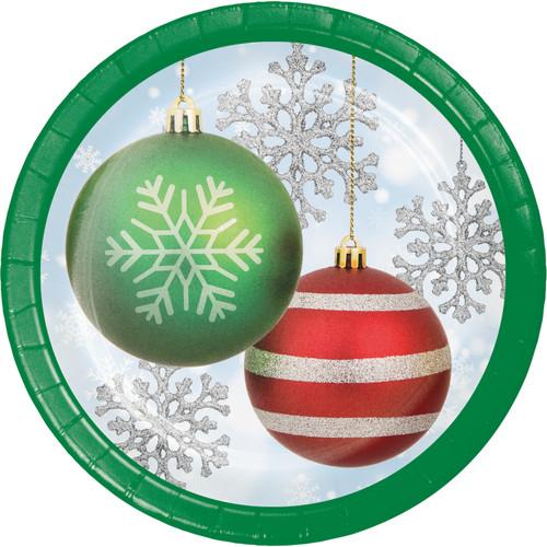 "Sparkling Ornaments 8 Ct 7"" Dessert Cake Plates Christmas"