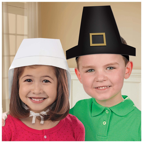 Makes 6 Pilgrim Hats and 6 Bonnets Thanksgiving Kids DIY Craft Dress Up Set