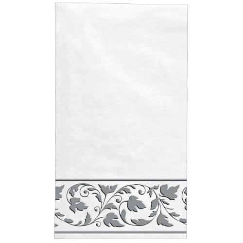 White Silver Trim Premium Quality 24 ct Guest Napkins Paper