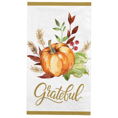Grateful Day 16 ct Guest Napkins Paper Fall Harvest Thanksgiving Pumpkin