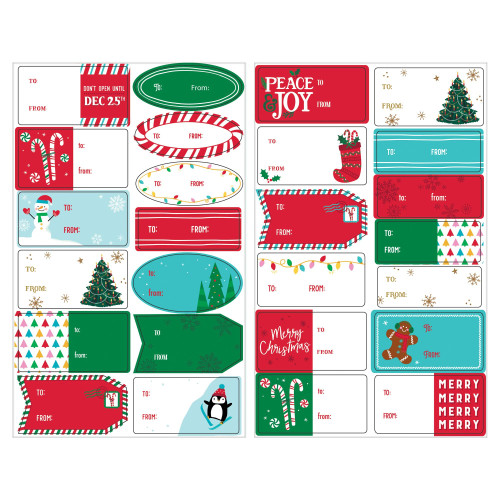 Christmas Gift Adhesive Labels 150 Ct Value Pack Red Green Blue