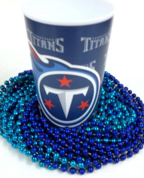 Tennessee Titans 22 oz Cup 12 Mardi Gras Beads Blue Party