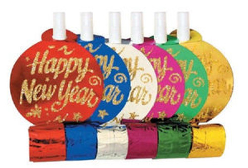"""""""Happy New Year"""" Assorted Colors Metallic New Year 6 Blowouts Party"""
