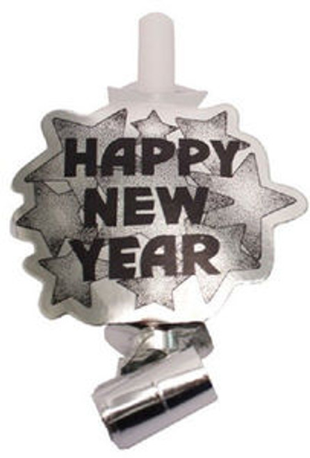 """""""Happy New Year"""" Silver Metallic New Year 6 Blowouts Party"""