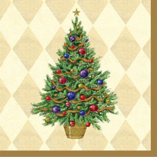 Christmas Spruced Up Gold Tree Luncheon Lunch Napkins 16 ct