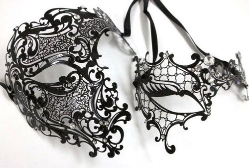 Black Crystal Phantom Men Woman Venetian Mask Masquerade Metal Couple Masks Set
