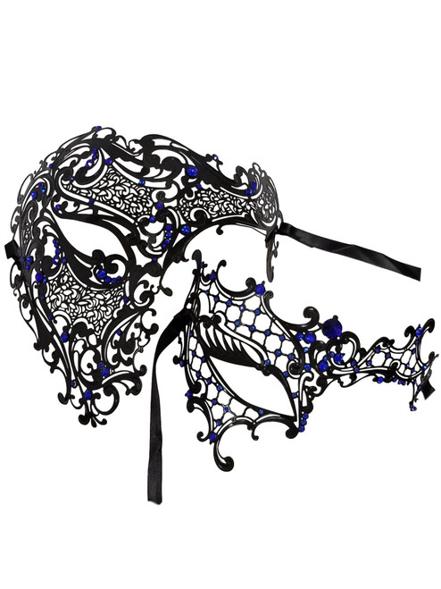 Black Blue Phantom Men Woman Venetian Mask Masquerade Metal Couple Masks Set