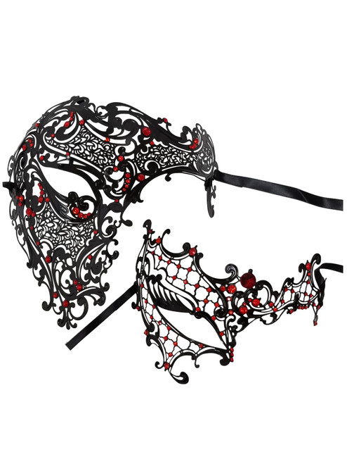 Black Red Phantom Men Woman Venetian Mask Masquerade Metal Couple Masks Set