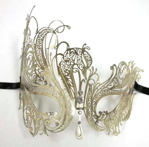 Gold Rhinestone Swan Laser Cut Venetian Mask Masquerade Metal Filigree