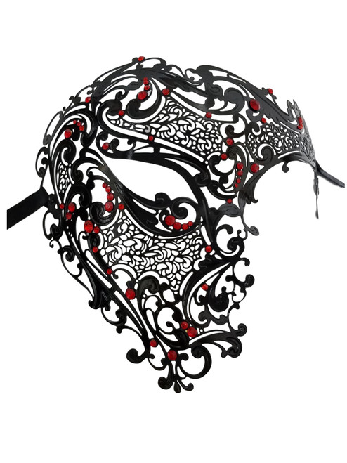 Black Red Phantom Laser Cut Venetian Mask Masquerade Metal Men Skull Filigree