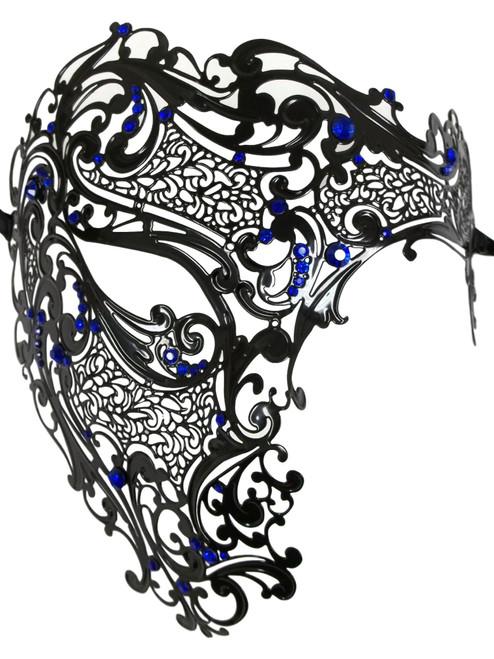 Black Blue Phantom Laser Cut Venetian Mask Masquerade Metal Men Skull Filigree