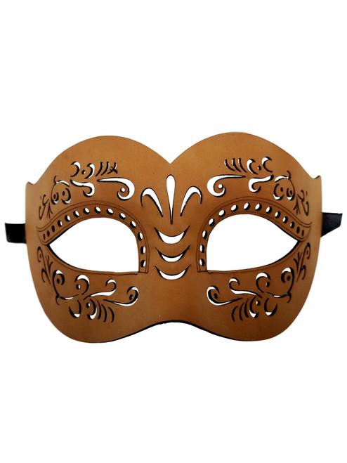 Leather Masquerade Mardi Gras Mask Tan Halloween Women Men