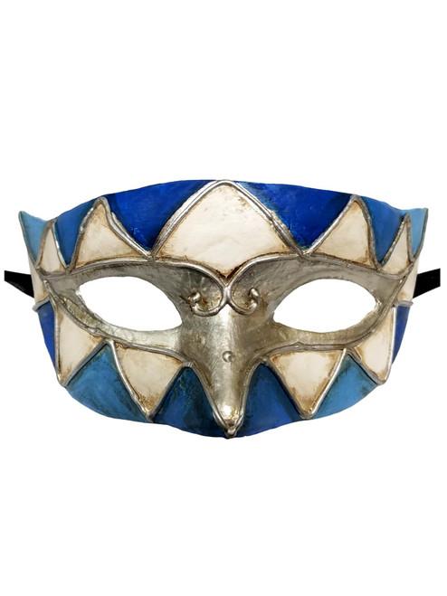 Blue White Silver Paper Mache Pewter Diamond Masquerade Mardi Gras Mask Mens Men