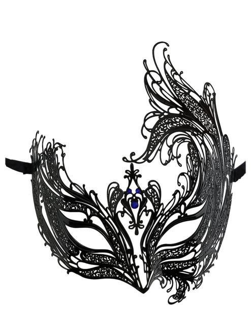 Black Bird of Paradise Blue Crystal Venetian Masquerade Metal Filigree Mask