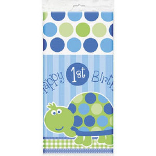 "1st Birthday Blue Turtle Party Table Cover Tablecloth 54"" x 84"""
