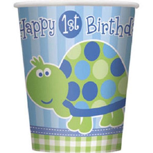 1st Birthday Blue Turtle Party 8 9 oz Hot / Cold Paper Cups