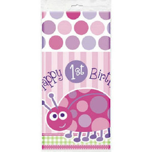 1st Birthday Ladybug Pink Party Tablecover Tablecloth 54 x 84