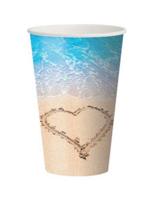 8 12 oz Cups Beach Love Wedding Bridal Shower Luau Party Heart Sand