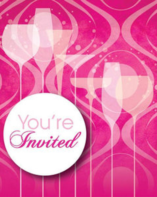 Fabulous Pink Cocktail Drink Birthday Party Invitations 8 ct