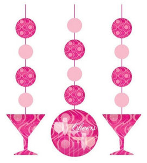 Fabulous Pink Cocktail Drink Birthday Party Hanging Cutouts 3ct Cheers