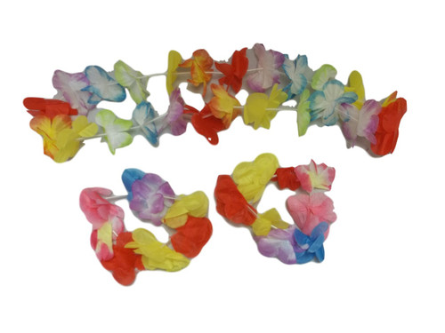 Hawaiian Hawaii Rainbow Silk Flower Lei Wristlets Set Luau Hula Party